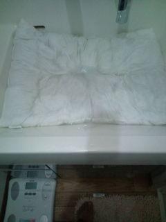 枕を手洗い