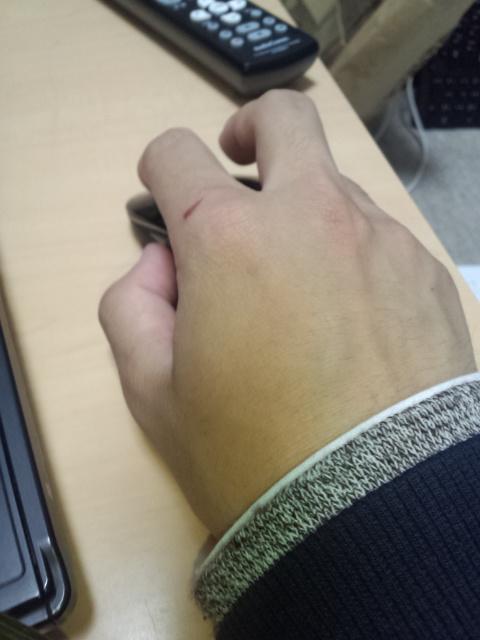 働く男の手